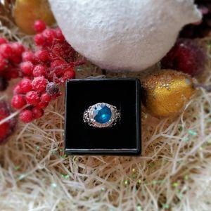 NWT London Blue Topaz 925 Silver Art Deco Ring